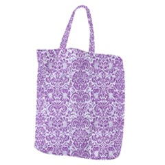 Damask2 White Marble & Purple Denim (r) Giant Grocery Zipper Tote by trendistuff