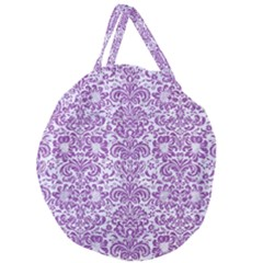 Damask2 White Marble & Purple Denim (r) Giant Round Zipper Tote by trendistuff