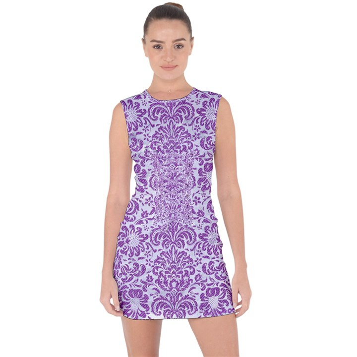 DAMASK2 WHITE MARBLE & PURPLE DENIM (R) Lace Up Front Bodycon Dress