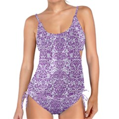 Damask2 White Marble & Purple Denim (r) Tankini Set