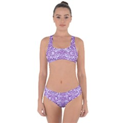 Damask2 White Marble & Purple Denim (r) Criss Cross Bikini Set