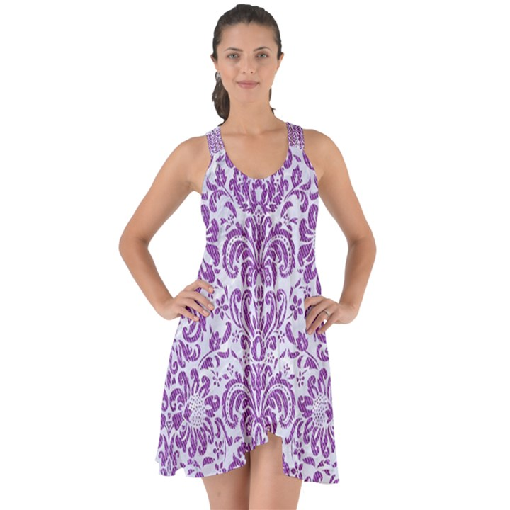DAMASK2 WHITE MARBLE & PURPLE DENIM (R) Show Some Back Chiffon Dress
