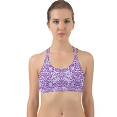 Damask2 White Marble & Purple Denim (r) Back Web Sports Bra