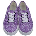 DAMASK2 WHITE MARBLE & PURPLE DENIM (R) Kids  Classic Low Top Sneakers View1
