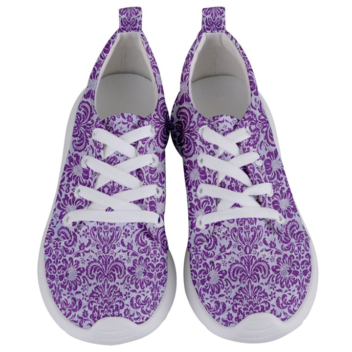 DAMASK2 WHITE MARBLE & PURPLE DENIM (R) Women s Lightweight Sports Shoes