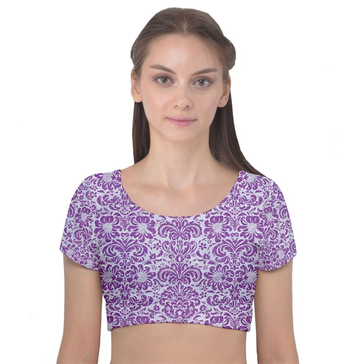 DAMASK2 WHITE MARBLE & PURPLE DENIM (R) Velvet Short Sleeve Crop Top