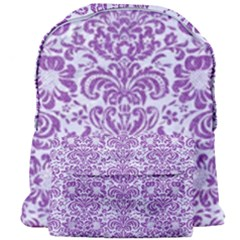 Damask2 White Marble & Purple Denim (r) Giant Full Print Backpack