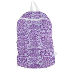 Damask2 White Marble & Purple Denim (r) Foldable Lightweight Backpack