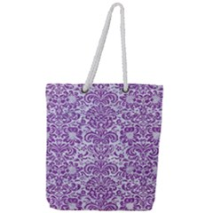 Damask2 White Marble & Purple Denim (r) Full Print Rope Handle Tote (large) by trendistuff