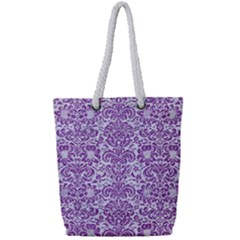 Damask2 White Marble & Purple Denim (r) Full Print Rope Handle Tote (small) by trendistuff