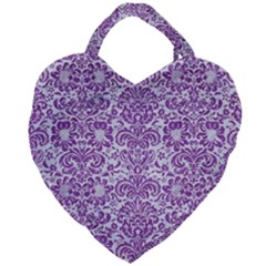 Damask2 White Marble & Purple Denim (r) Giant Heart Shaped Tote by trendistuff