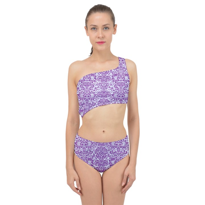 DAMASK2 WHITE MARBLE & PURPLE DENIM (R) Spliced Up Swimsuit