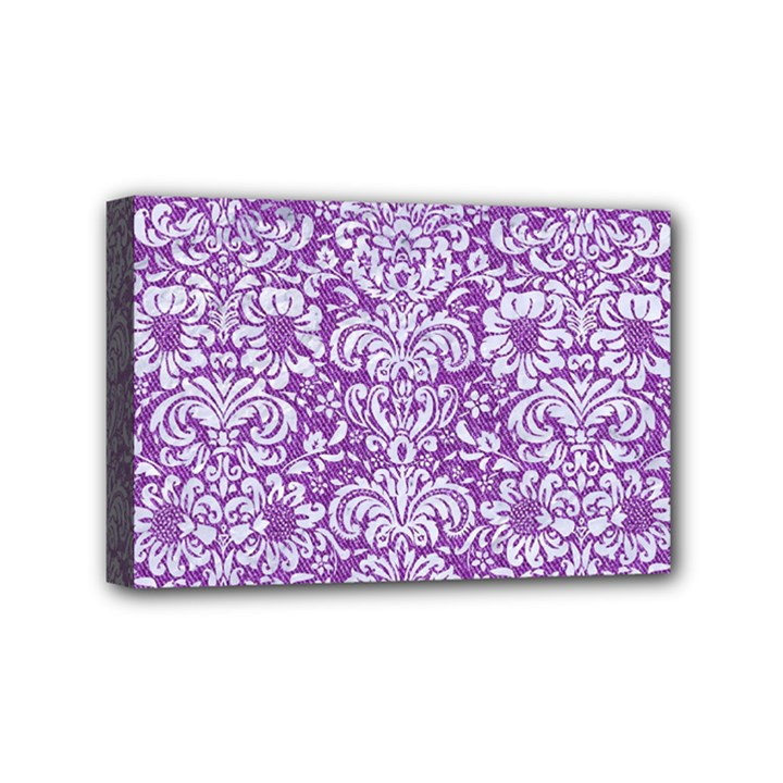 DAMASK2 WHITE MARBLE & PURPLE DENIM Mini Canvas 6  x 4