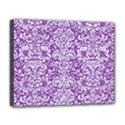 DAMASK2 WHITE MARBLE & PURPLE DENIM Deluxe Canvas 20  x 16   View1