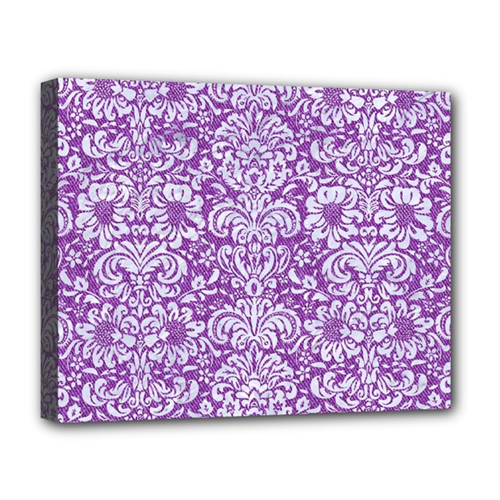 DAMASK2 WHITE MARBLE & PURPLE DENIM Deluxe Canvas 20  x 16
