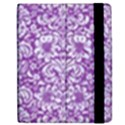DAMASK2 WHITE MARBLE & PURPLE DENIM Apple iPad 3/4 Flip Case View2