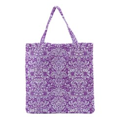 Damask2 White Marble & Purple Denim Grocery Tote Bag by trendistuff