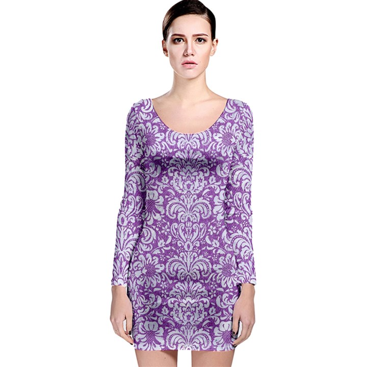 DAMASK2 WHITE MARBLE & PURPLE DENIM Long Sleeve Bodycon Dress