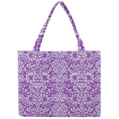 Damask2 White Marble & Purple Denim Mini Tote Bag by trendistuff