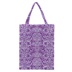 Damask2 White Marble & Purple Denim Classic Tote Bag by trendistuff