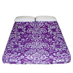 Damask2 White Marble & Purple Denim Fitted Sheet (queen Size) by trendistuff