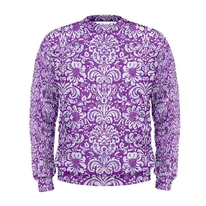 DAMASK2 WHITE MARBLE & PURPLE DENIM Men s Sweatshirt
