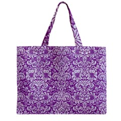 Damask2 White Marble & Purple Denim Zipper Mini Tote Bag by trendistuff
