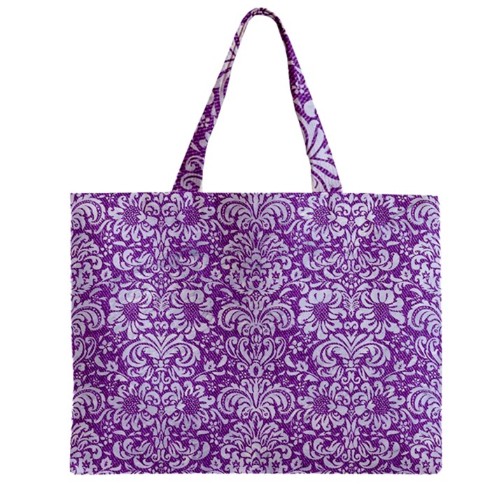DAMASK2 WHITE MARBLE & PURPLE DENIM Zipper Mini Tote Bag