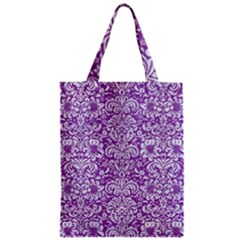 Damask2 White Marble & Purple Denim Zipper Classic Tote Bag by trendistuff
