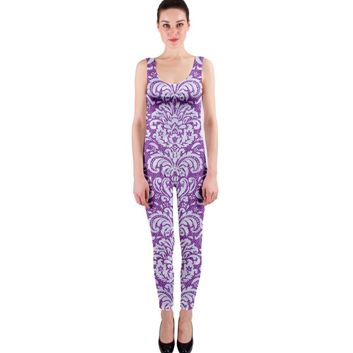 DAMASK2 WHITE MARBLE & PURPLE DENIM One Piece Catsuit