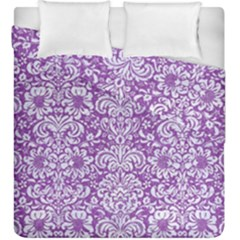 Damask2 White Marble & Purple Denim Duvet Cover Double Side (king Size)