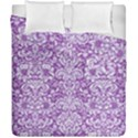 DAMASK2 WHITE MARBLE & PURPLE DENIM Duvet Cover Double Side (California King Size) View1