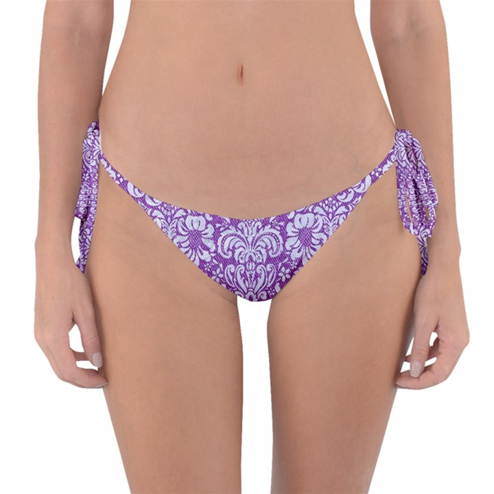 DAMASK2 WHITE MARBLE & PURPLE DENIM Reversible Bikini Bottom