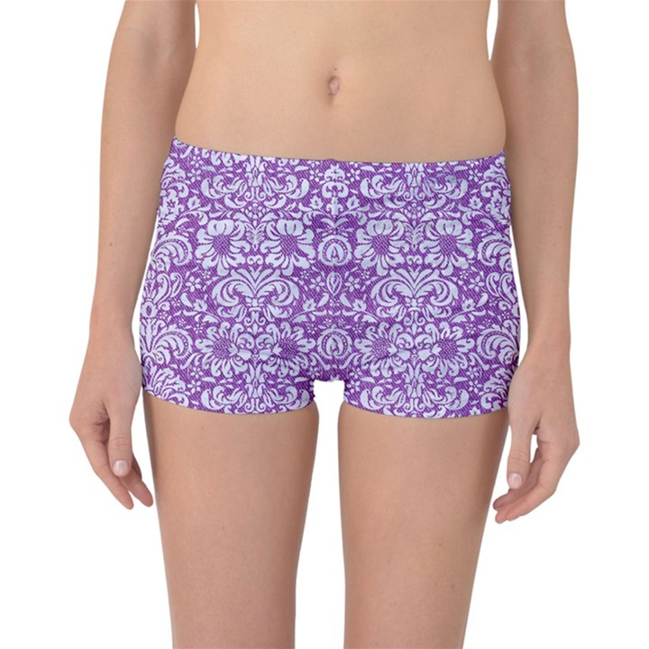 DAMASK2 WHITE MARBLE & PURPLE DENIM Reversible Boyleg Bikini Bottoms