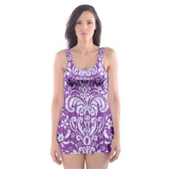 Damask2 White Marble & Purple Denim Skater Dress Swimsuit