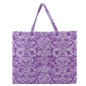 DAMASK2 WHITE MARBLE & PURPLE DENIM Zipper Large Tote Bag View1