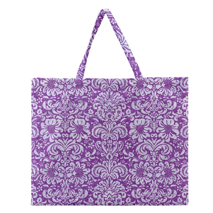 DAMASK2 WHITE MARBLE & PURPLE DENIM Zipper Large Tote Bag
