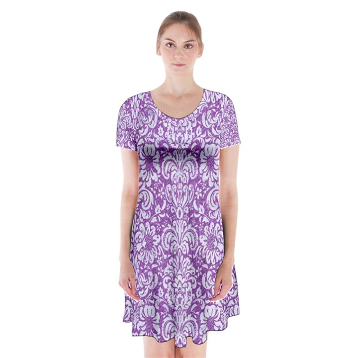 DAMASK2 WHITE MARBLE & PURPLE DENIM Short Sleeve V-neck Flare Dress