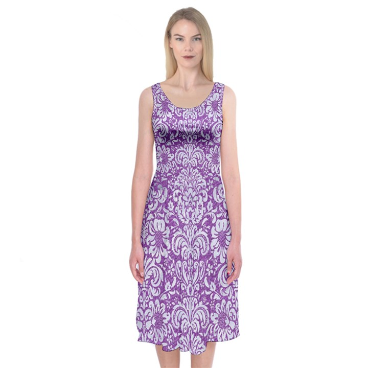 DAMASK2 WHITE MARBLE & PURPLE DENIM Midi Sleeveless Dress