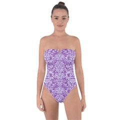 Damask2 White Marble & Purple Denim Tie Back One Piece Swimsuit