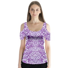 Damask2 White Marble & Purple Denim Butterfly Sleeve Cutout Tee