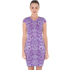Damask2 White Marble & Purple Denim Capsleeve Drawstring Dress