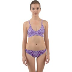 Damask2 White Marble & Purple Denim Wrap Around Bikini Set