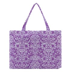 Damask2 White Marble & Purple Denim Medium Tote Bag by trendistuff