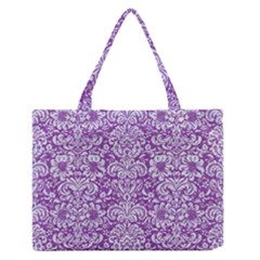 Damask2 White Marble & Purple Denim Zipper Medium Tote Bag by trendistuff