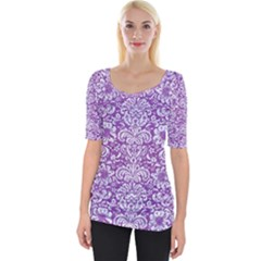 Damask2 White Marble & Purple Denim Wide Neckline Tee
