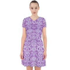 Damask2 White Marble & Purple Denim Adorable In Chiffon Dress