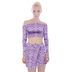 Damask2 White Marble & Purple Denim Off Shoulder Top With Mini Skirt Set