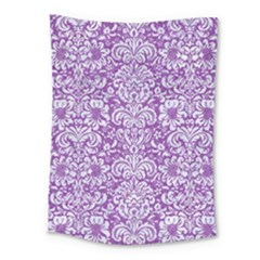 Damask2 White Marble & Purple Denim Medium Tapestry by trendistuff