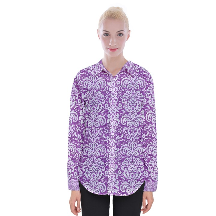 DAMASK2 WHITE MARBLE & PURPLE DENIM Womens Long Sleeve Shirt